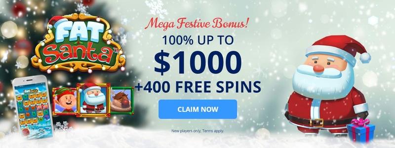 Bonus Mega Festive Twin Casino sebesar $1.000 + 400 Putaran Gratis